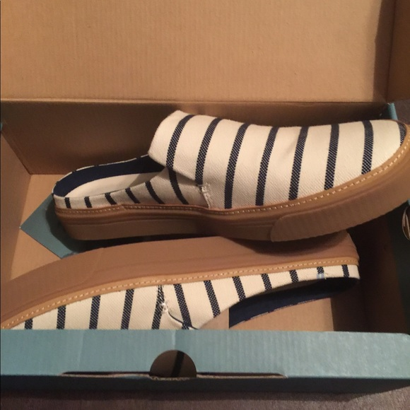 Toms Shoes - Toms Size 11 New Navy/White Slip On Shoes
